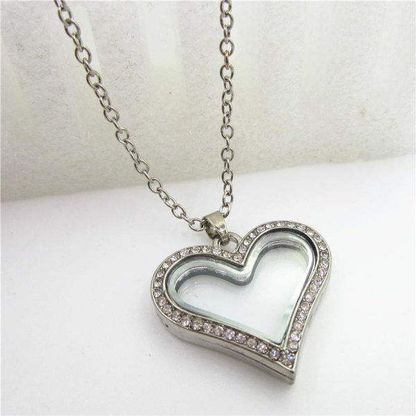 Rhinestone magnetic heat locket necklace Glass living locket pendant alloy floating lockets with 60cm chains necklace jewelry