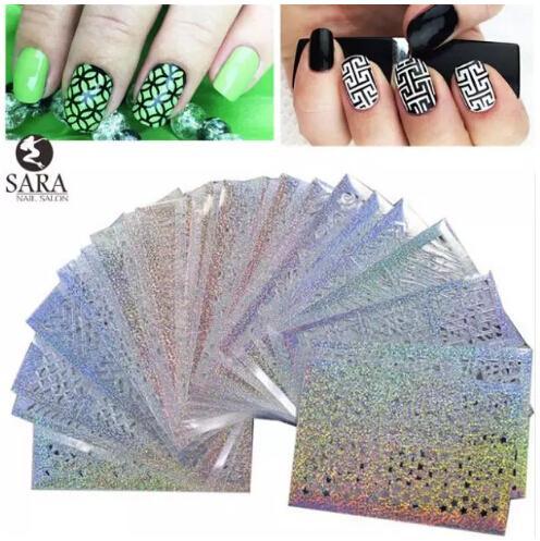 Nail Salon 24Sheets Vinilos Imprimir Nail Art DIY Stencil Stickers Para 3D Nails Leaser Plantilla Pegatinas Suministros