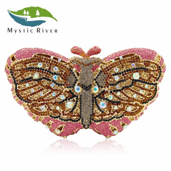Mystic River Women Butterfly Shape Luxury Crystal Evening Bag Sisters Party Clutches Purses Wedding Pink Clutch