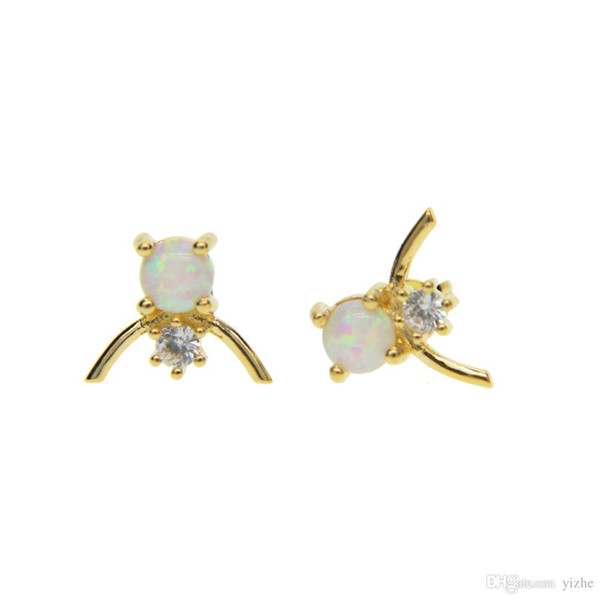 white fire opal jewelry 2018 new top quality facotry wholesale gold silver plated cz opal stone V shape girl stud earring