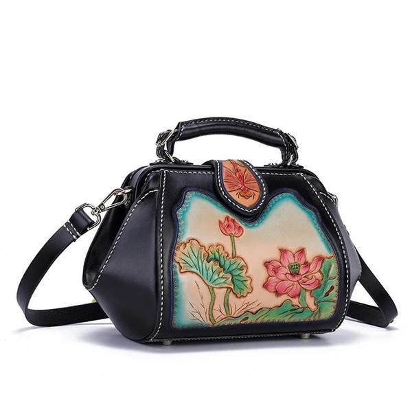 Chinese Style Genuine Leather Hand Engraved Women Flower Handbag Ladies Black Lotus Floral Single Crossbody Shoulder Doctor Bag