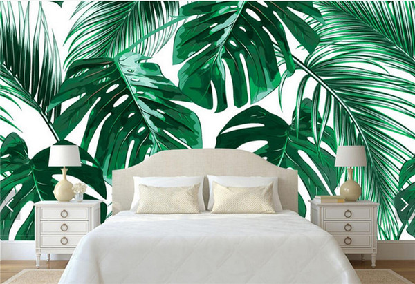 top popular Southeast Asia Tropic Tree Banana Leaf Wallpaper Mural for Living Room TV Background Wall Deocative Custom Size 3d Wall Murals 2021