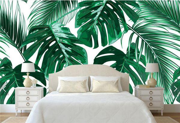 Asie du sud-est tropique arbre papier peint feuille de banane murale pour salon TV fond mur deocative taille personnalisée papier peint 3d