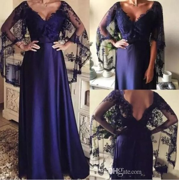 Dark Purple Mother Of The Bride Dresses Elegant Lace Shawl Cape V Neck Formal Evening Gowns With Wraps Vintage Wedding Guest Dresses 2018