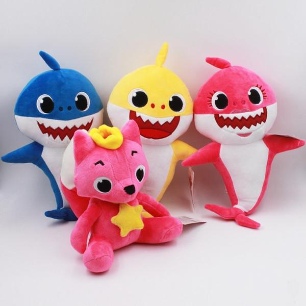 26 ~ 32 cm moda Fox e tubarão Plush Dolls 4 estilos dos desenhos animados PinkFong brinquedos de pelúcia Fox Toy Sharks Dolls