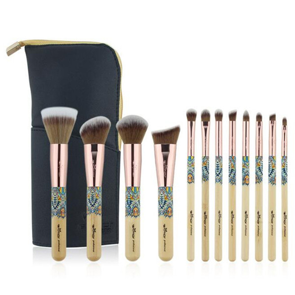 Foundation Powder Brush 12 unids establece maquillaje de bambú profesional Fundación Highlighter Eyeshadow brush set DHL free