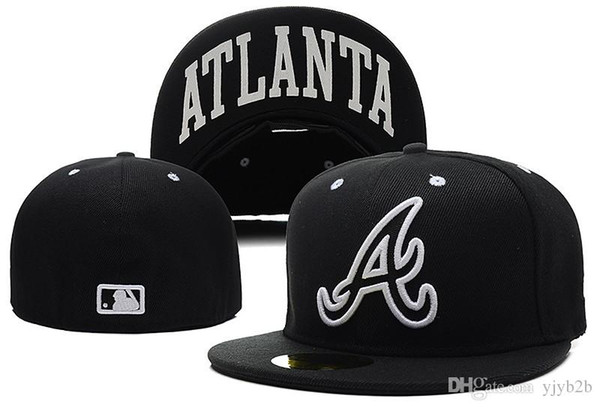 One Piece New Arrival Braves Fitted Hats Letter A Embriodery Team Logo Brand Hip Hop City Name Print Under Brim Sports Baseball Caps