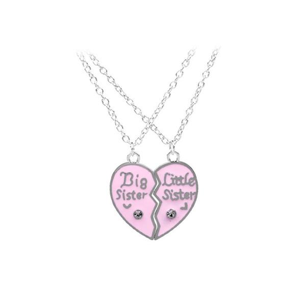 Best Friends Collana bambini Big Little Sister Pendant Pink Black Heart Collana Gioielli Regali per bambini 10 Set