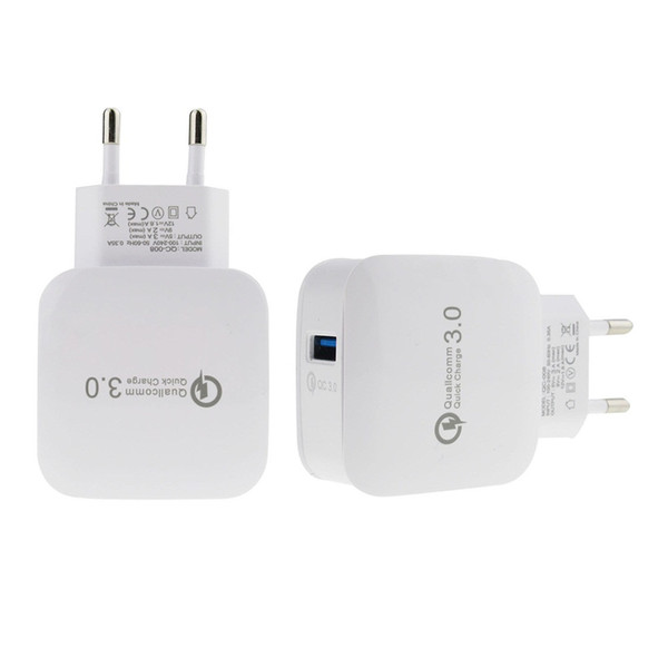 EU Plug Build-in QC 3.0 Quick Fast Charging Travel Home AC To Phone USB Wall Phone Charger for home travel office