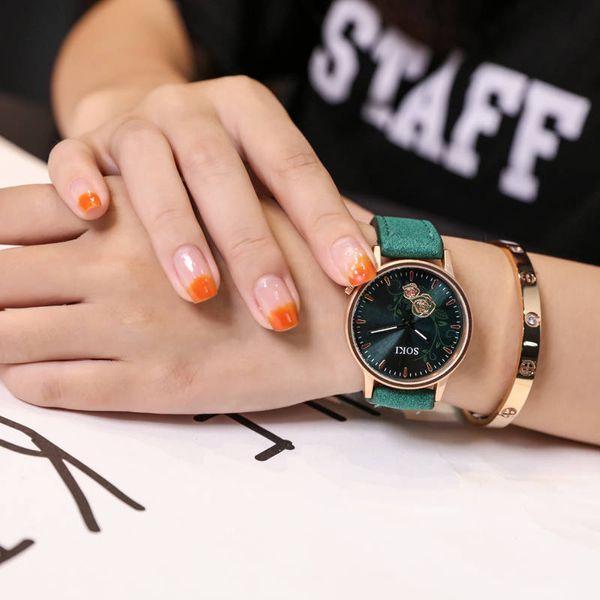 SOKI Brand Women Bracelet Watch Fashion Rose Gold Flowers Leather Simple Women Dress Watches Luxury Business Gift Clock Watch