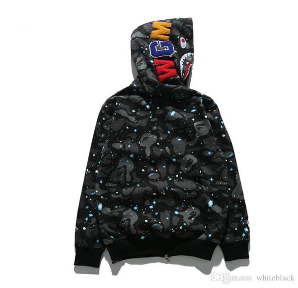 Mens Frauen lieben Sportwear Coat Trainingsanzug Reißverschluss Fleece Sweatshirt WGM Stickerei Shark Black Hip Hop Hoodie Männer Shark Mund Tarnung Mantel