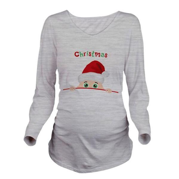 Fashion Pregnancy Maternity Clothes Santa Claus Print Cotton Tops/T-shirt O-neck Nursing Tops For Pregnant Women Ropa Maternal