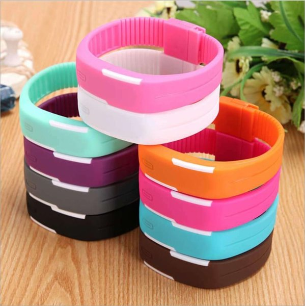 LED watch Silicone strap Rubber wrist Digital watch for Boys Girls Lover sport waterproof watch 14 colour