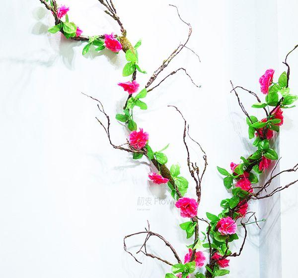 Artificielle Pivoine Fleur De Lierre Vigne Simulation Escalade Plante En Rotin Pour La Maison Jardin Guirlande Décoration faux rose Fleur Vigne décorative guirlande