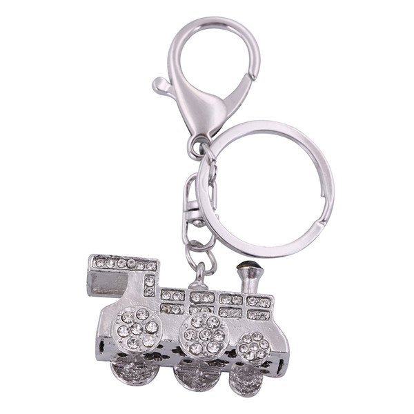 2018 Fishhook Wholesale Retail Fashion New Design China Manufacturer Silver  Crystal Locomotive Custom Shaped Metal Key Chain Keychains From
