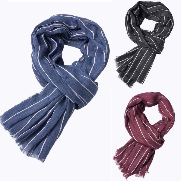 Mens Classic Shawl Winter Fall Stripe Scarves Fringe Striped Tassel Long Scarf