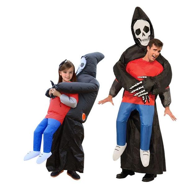 Fantasma inflável de esqueleto adulto traje de explosão de festa de fantasia engraçado golpe escuro morte me pegar trajes de halloween de horror