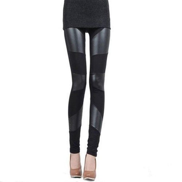 High Quality Womens Fashion Sexy Stitching Stretchy Faux Leather Skinny Leggings Pants New 2017