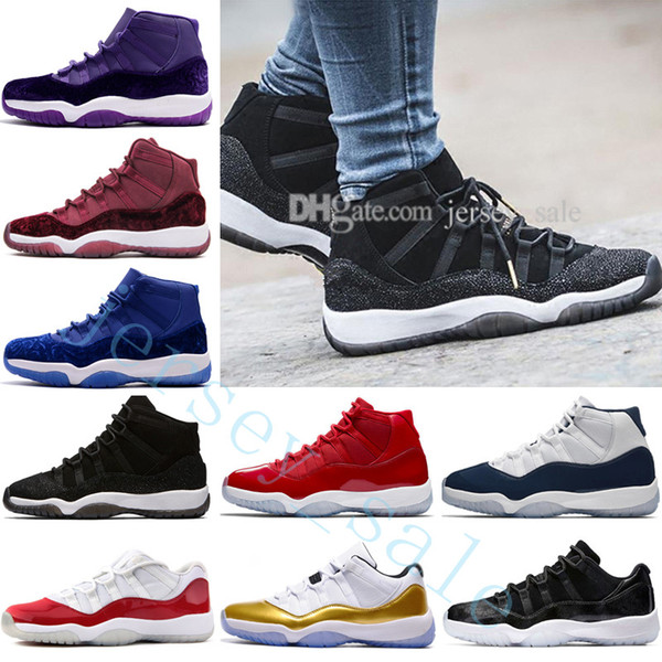 Cheap 11 GYM RED Bred CHICAGO 11S XI REAL MEN BASKETBALL SHOES OUTDOOR SNEAKERS Low GS Velvet Heiress wine Blue Purple Black Stingray Barons