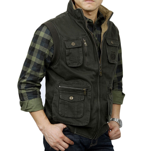 Tactical Vest Men Vest Sleeveless Jacket Men Mens Veats Casaco Army masculino Casual Multi Pocket Photographer Waistcoat XXL
