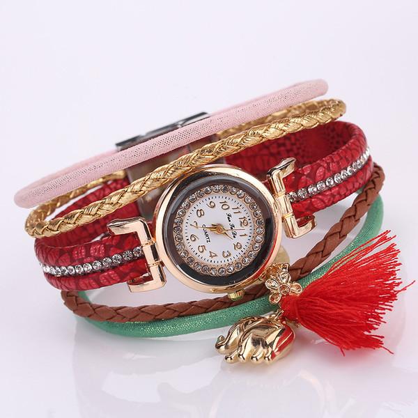 MESTILO Vintage Ethnic Multilayer Colorful Leather Wrap Bracelets Women Charm Elephant Rhinestone Wrist Watch Bracelets Bangles