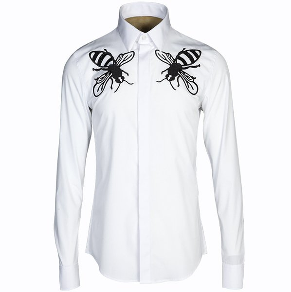 New 2018 import large bees embroidery young male Europe and cultivate morality shirt shirt factory direct sale