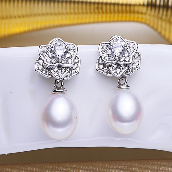 Yun Jewellery Classic Camellia Earrings Freshwater Pearl Ear Nail Eardrop 8-9mm Rice Shape Korean Jewelry