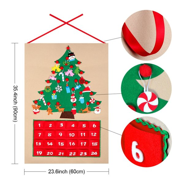 Christmas Countdown Calendar.2019 Date 1 24 Diy Felt Christmas Advent Calendar Christmas Tree Countdown Calendar With Pockets New Year Hanging Ornaments From Topprettymall 16 24