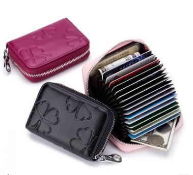 wholesale 2018 new Women Leather RFID Zipper Credit Card Holder Organizer Business Card Case Travel Wallets