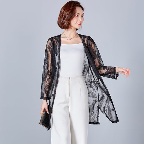 fe56a4b4423 Gkfnmt 2018 New Casual Crochet Poncho Clothing Summer Autumn Cardigan Blouse  Shirt Tops Woman Sexy Plus Size Lace Floral Blusas
