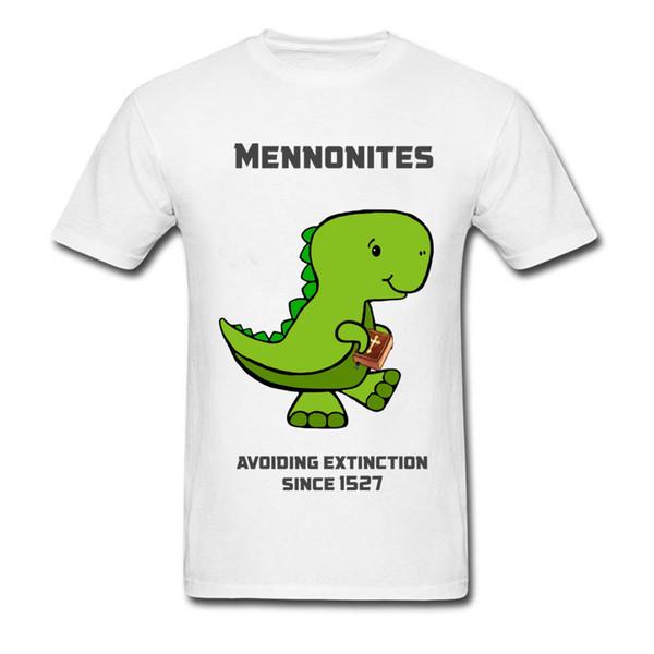 Mennonite Asuras Cartoon vert t-shirt Designer Dinosaur col rond manches courtes pur coton pour hommes T-shirts préférés
