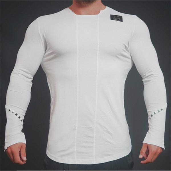 Brand Men fashion t shirt 2018 Spring summer Slim shirts male Tops Leisure Bodybuilding Long Sleeve personality tees clothing
