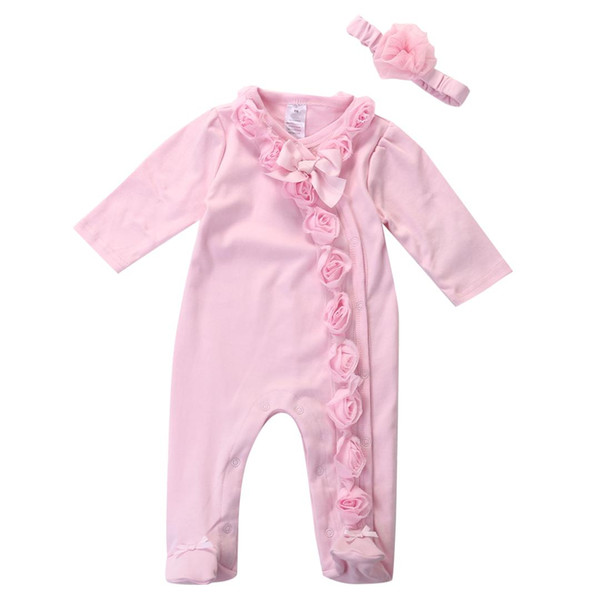Newborn Toddler Infant Baby Girls 0-7M Floral Romper 2pc Long Sleeve Headband Clothes Outfits Set Pink
