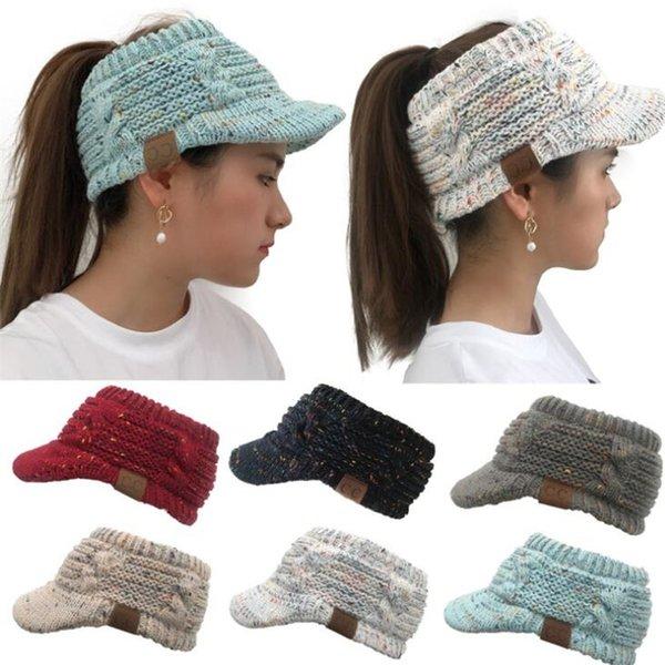 Compre Mujeres Cc Label Ponytail Sombreros De Invierno De Colores De ...