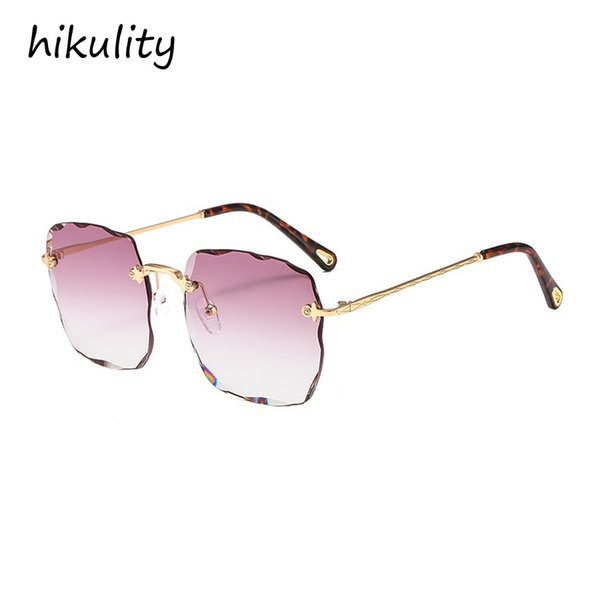 89157 Rimless Cutting Rectangle Sunglasses Women 2018 Ocean Gradient Color Ladies Shades Luxury Blue Pink Sun Glasses Female