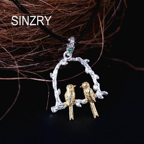 Sinzry 100% en argent sterling 925 créatif bijoux oiseau sur les colliers de pendentif arbre fait main beaux bijoux pour femmes