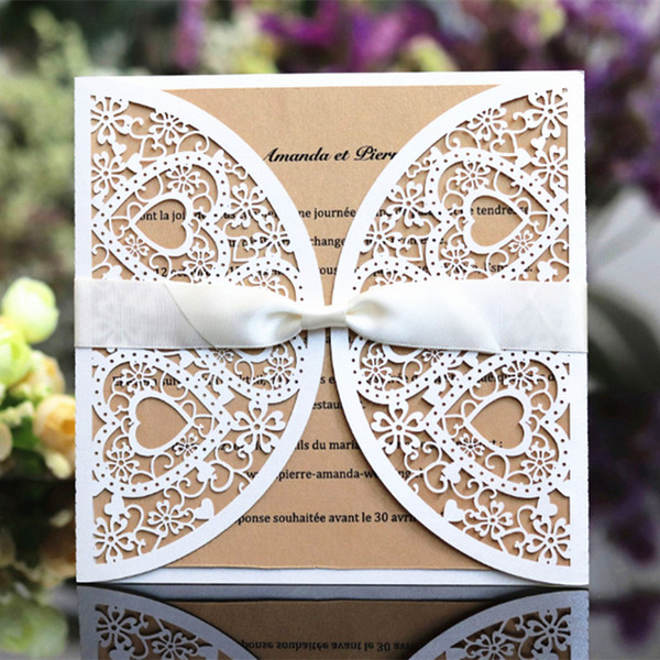 Romantic Wedding Invitation Card Hollow Heart Laser Cut White Wedding Card Customized Printing Multi Color Free Ship Wedding Invitations Online