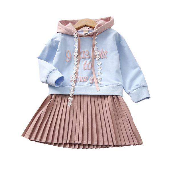 Nuove ragazze dei bambini Primavera Autunno versione coreana Costume Kids Girls Trend scuola uniforme abito in stile college con cappuccio abito pieghettato