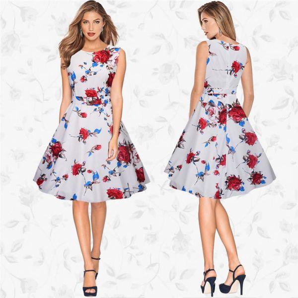 Sweet Style Summer Dress Women Girls Sexy Sleeveless Round Neck Slim Flower Printed Dress Swing Ball Gown Ladies Dress