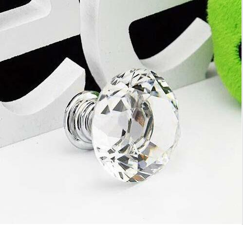 Wholesale 2016 New Hot Selling 30mm Diamond Shape Crystal Glass Cabinet Handle Cupboard Drawer Knob Pull