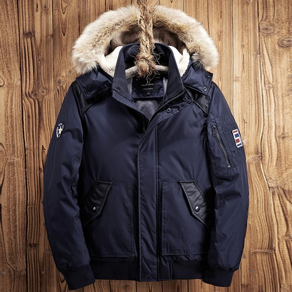 Parkas Winter Jacket Men 2018 Thick Warm Clothes Cotton Jacket Fur Hooded Coat Hat Blue Black Coats Male Tops Parka Hombre XD581