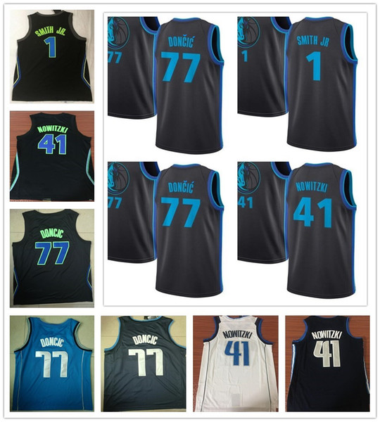 factory price 33eaa 91cb6 2019 Stitched Latest Style 41 Dirk Nowitzki Jersey Sportswear New City Navy  Blue White Black 1 Dennis Smith Jr. 77 Luka Doncic Jerseys Breathable From  ...