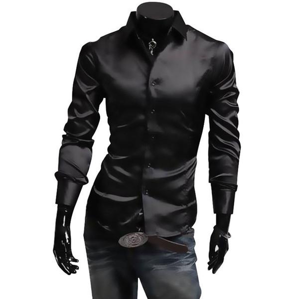 Mens Silk Shirt Fashion Brand Men's Long Sleeve Shirt Men camisa social masculina Casual Black Men Dress Shirts