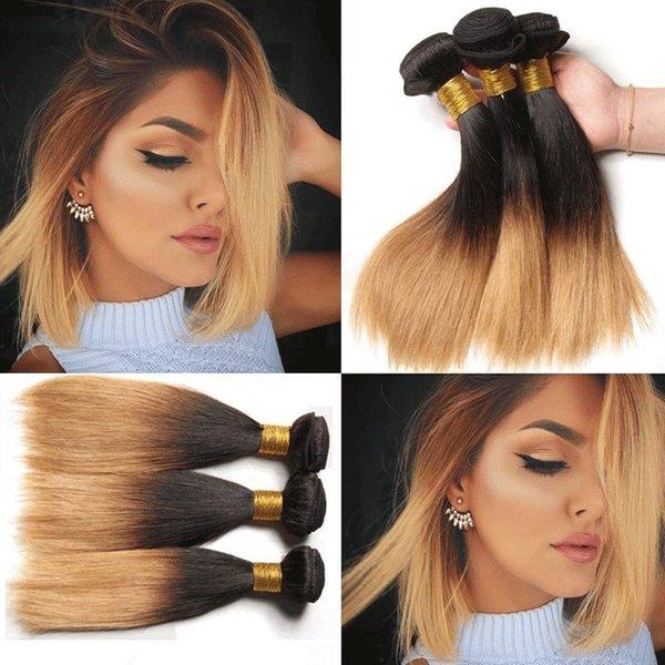 Ombre pelo rubio y rubio teje raices oscuras cabello rubio paquetes 1b / 4/27 # peruano venta al por mayor cabello virgin remy tejido 8