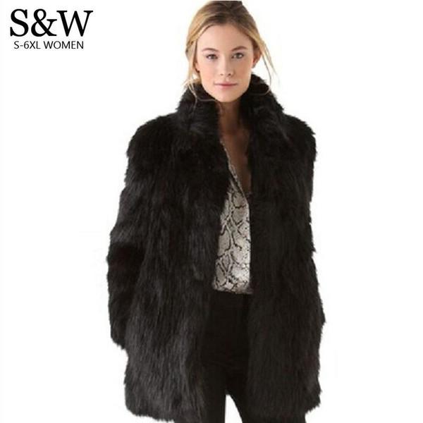 Cappotto in pelliccia sintetica bianca / nera Cappotto invernale donna Cappotto in pelliccia di volpe con collo medio-lungo Plus Size XXXL 4XL 5XL Giacca in pelliccia da donna taglia grande