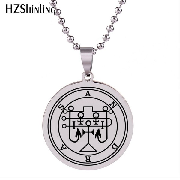 2018 New Andras Sigil Pendant Art Silver Stainless Steel Necklace Round Pendants Hand Craft Jewelry Ball Chain HZ7