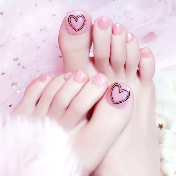24 pcs Kawaii Pink Faux Toe Nail Tips avec des paillettes Black Heart Designs Square Pleine Couverture Toe Ongles Faux Acrylique Appuyez sur les ongles