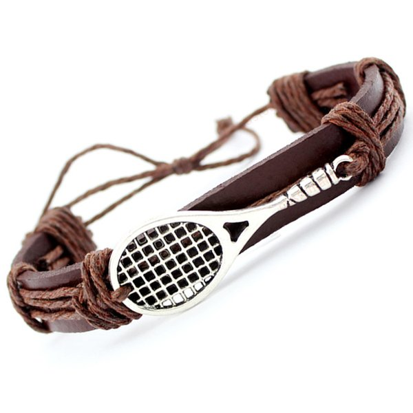 Soccer Football Baseball Volleyball Lacrosse Field Hockey Gymnastics Tennis Racket Racquetball Leather Wrap Bracelet Men