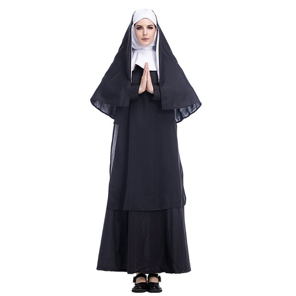 Adult Black Nun Dress With Hooded Set Costumes Cosplay For Woman Halloween Church Monja Party Cosplay