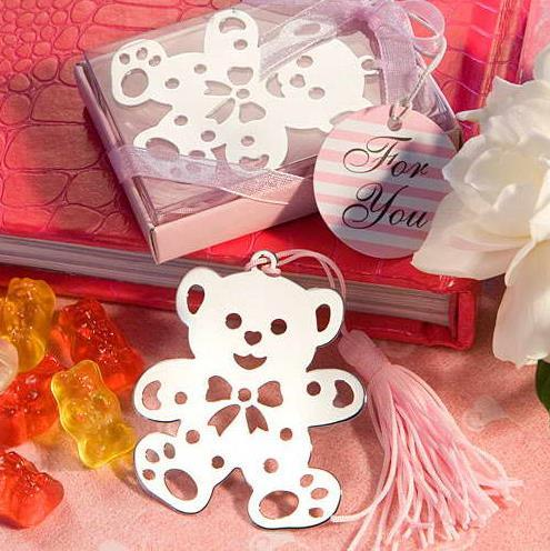 10pcs Cute Silver Bear Bookmark For Birthday Bridal girl Baby Shower Christening Wedding Gift Party Favor baby shower souvenir free shipping